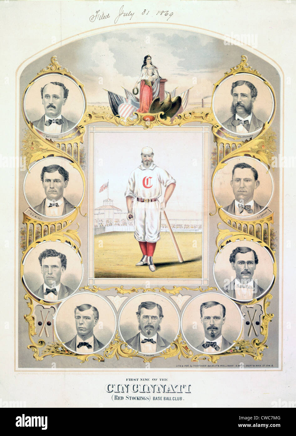 First Nine of the Cincinnati Red Stockings BaseBall Club 1869 - Stock Image