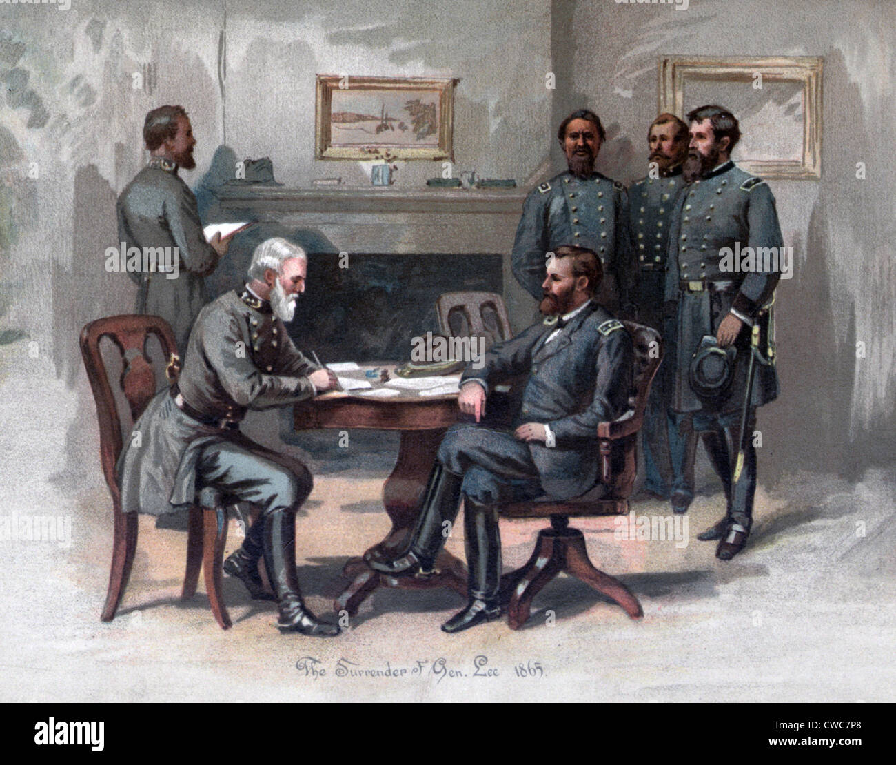 The Civil War. The Surrender at Appomatox Robert E. Lee and Ulysses S. Grant 1865 - Stock Image