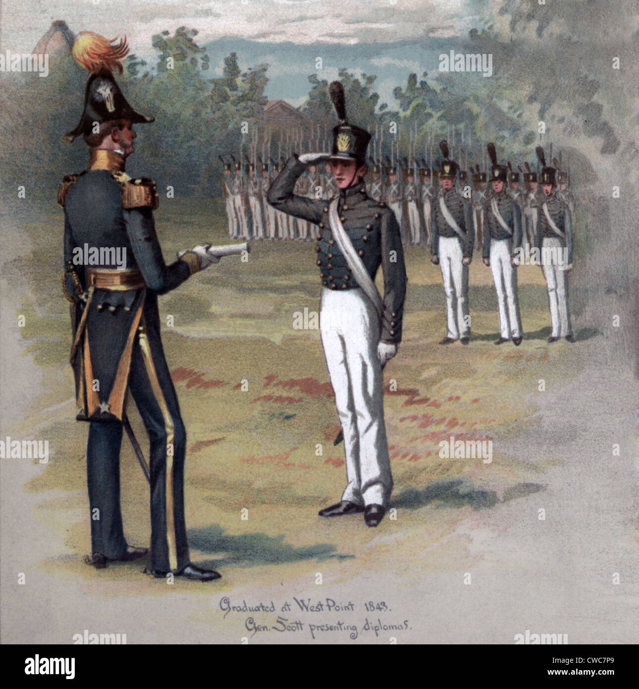 Ulysses S. Grant while a cadet at West Point 1840s - Stock Image