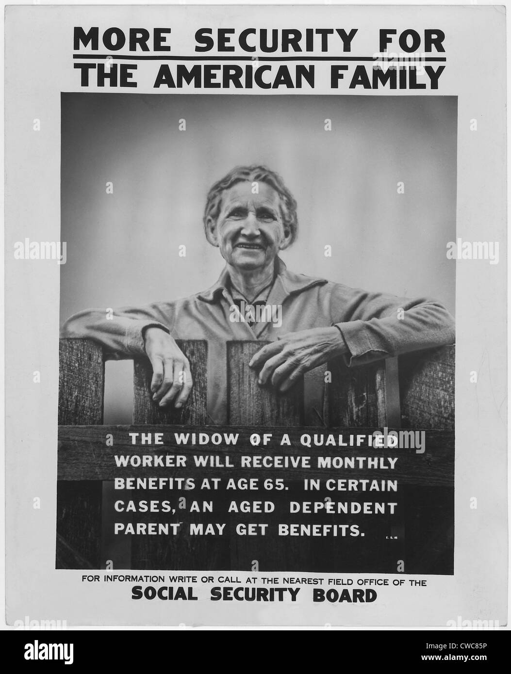 1930s poster publicizing the benefits available to widows under the new Social Security programs. - Stock Image