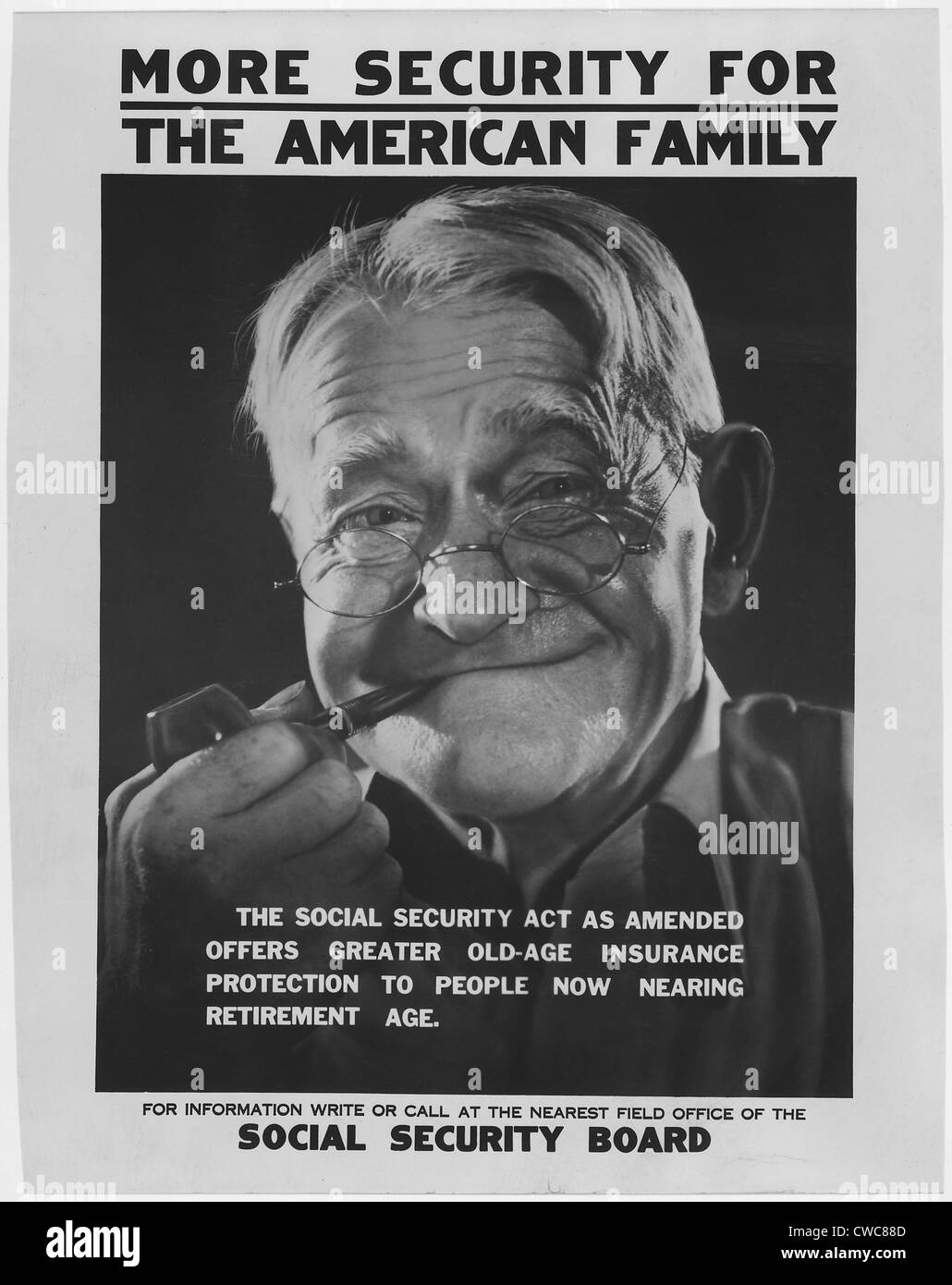 1930s poster publicizing the benefits available to elderly Americans under the new Social Security programs. - Stock Image