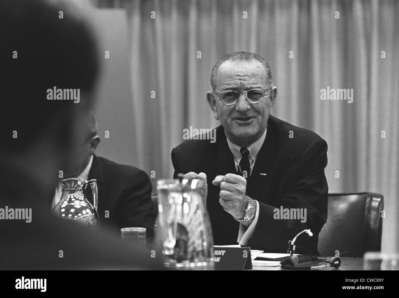 President Lyndon Johnson gesturing emotionally. LBJ was leading a Conference on the Vietnam War in Hawaii Honolulu Stock Photo