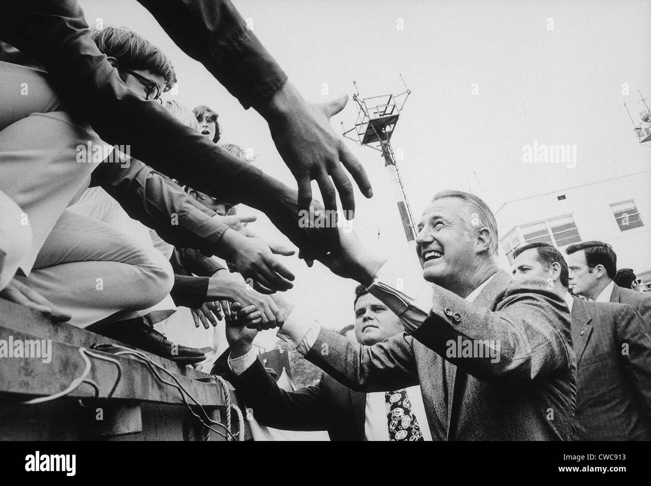 Vice President Spiro Agnew campaigning in 1972. - Stock Image