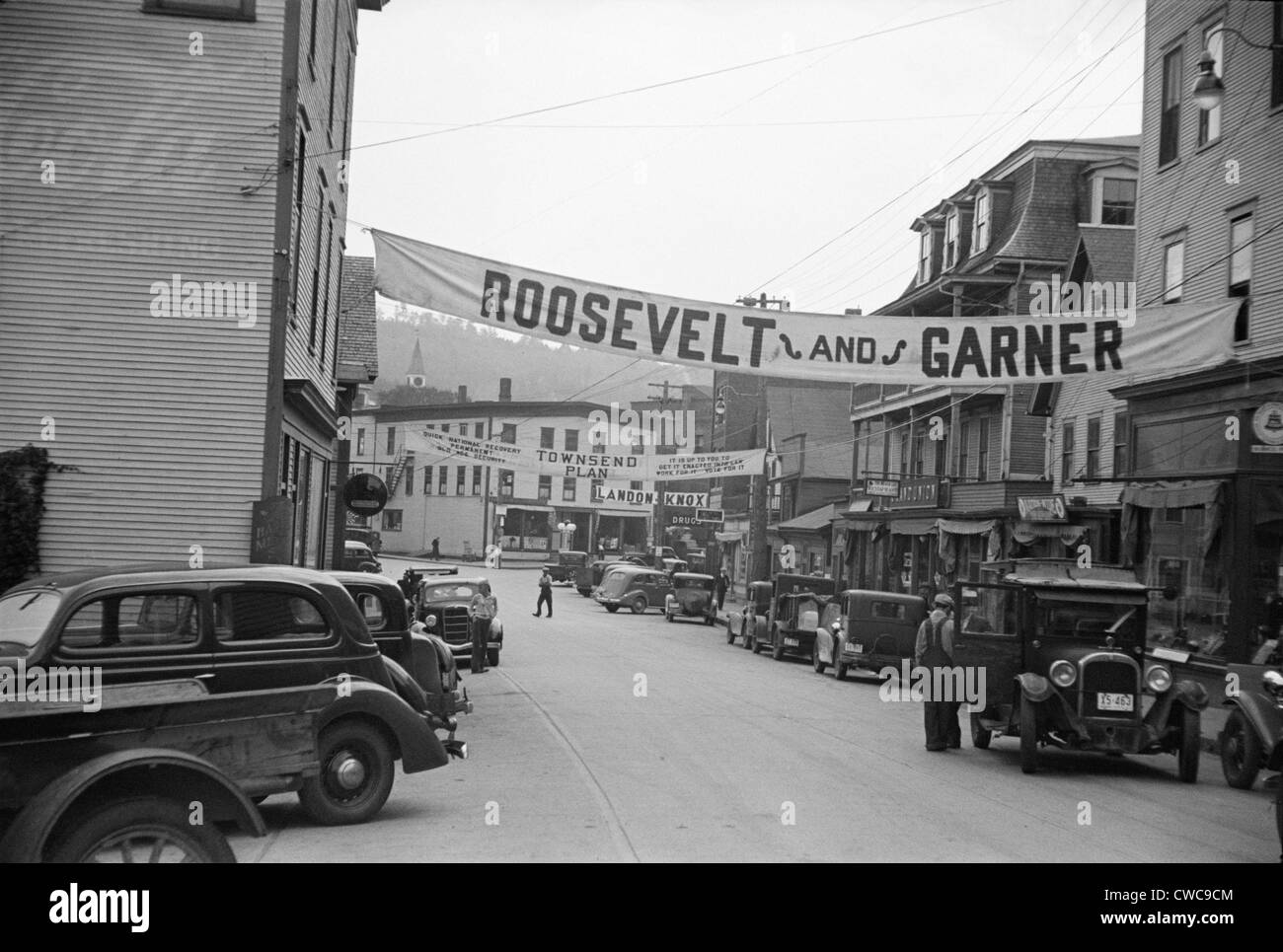 Signs for the 1936 election. Hardwick Vermont streets with campaign signs for 'Roosevelt and Garner' 'The - Stock Image