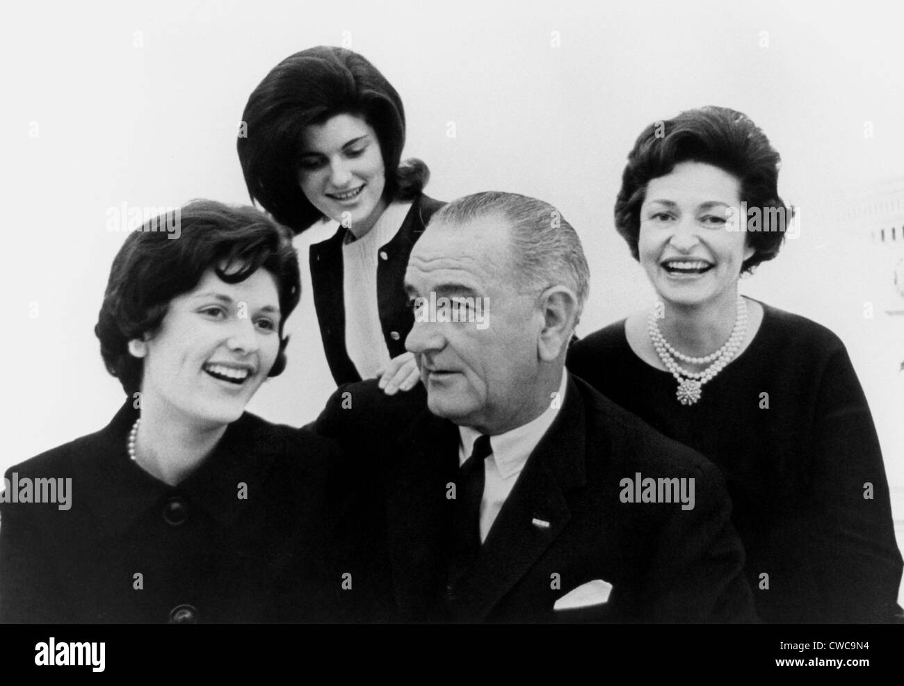 President Lyndon Johnson family portrait. Lynda Johnson, Luci Johnson, Pres. Lyndon Johnson, Lady Bird smiling but - Stock Image