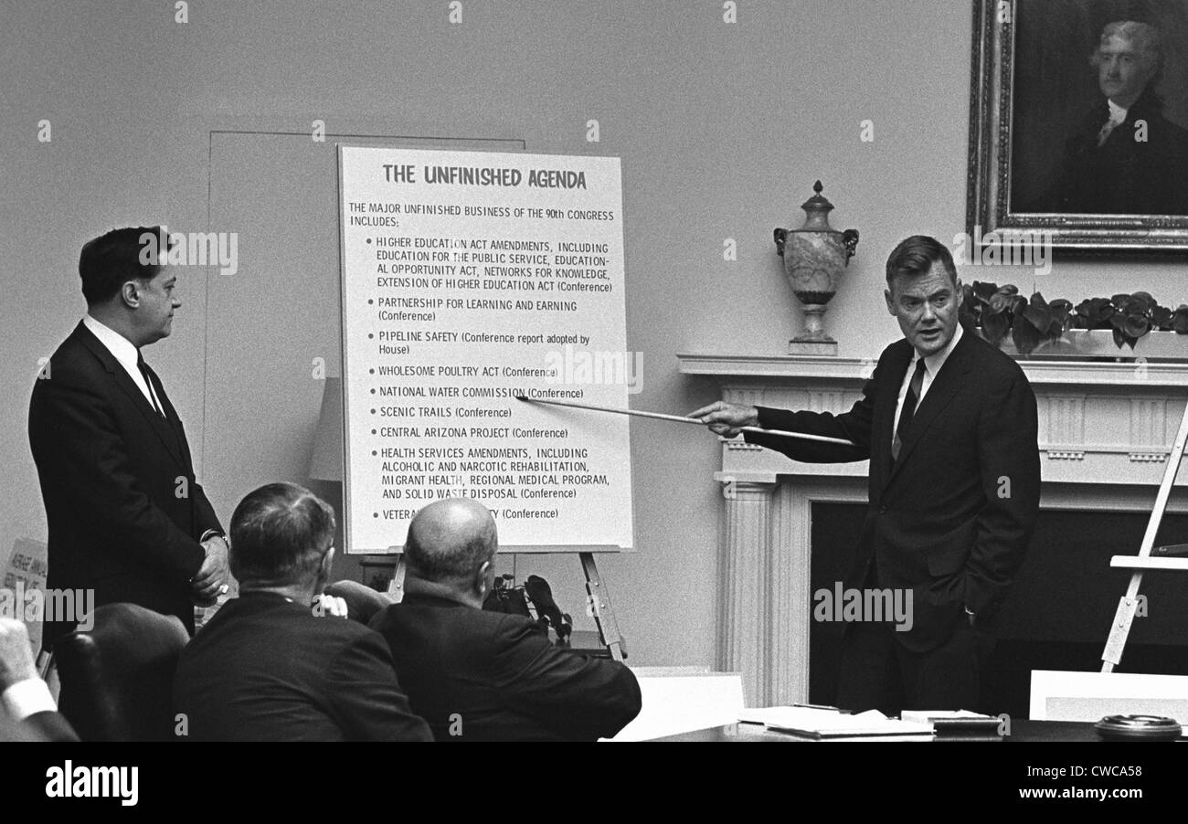 LBJ's Great Society programs. With less than six months until the end of the LBJ presidency, Harold 'Barefoot' - Stock Image