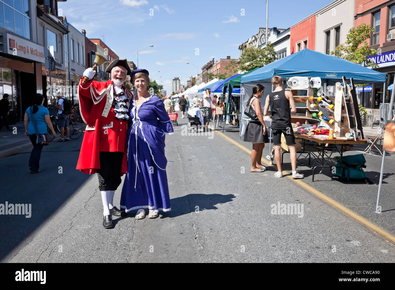 Town Crier at Side Walk or Street Festival in Toronto;Ontario;Canada;on Bloor West Village - Stock Image