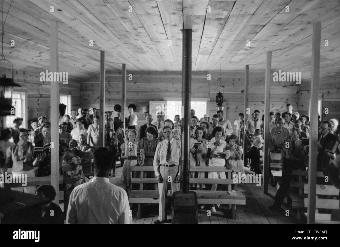 Religious service in the Pie Town, New Mexico church. Pie town was settled in the 1930's by 250 homesteader families Stock Photo