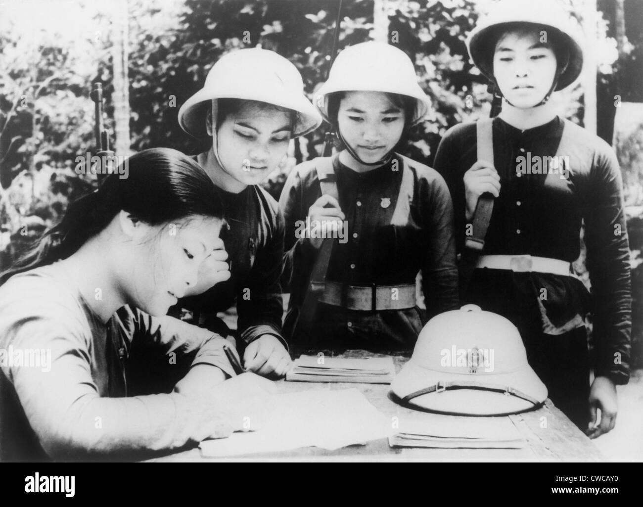 North Vietnamese woman joins People's Army of Vietnam. A young woman member of the Hanoi woman's militia, - Stock Image