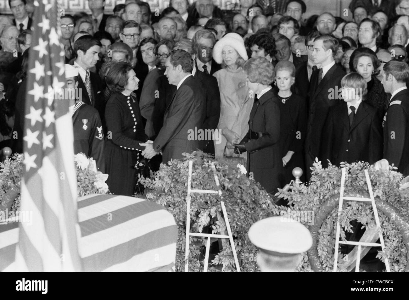 Lyndon Johnson funeral. President Nixon offering condolences to Lady Bird Johnson at LBJ funeral ceremonies inside Stock Photo