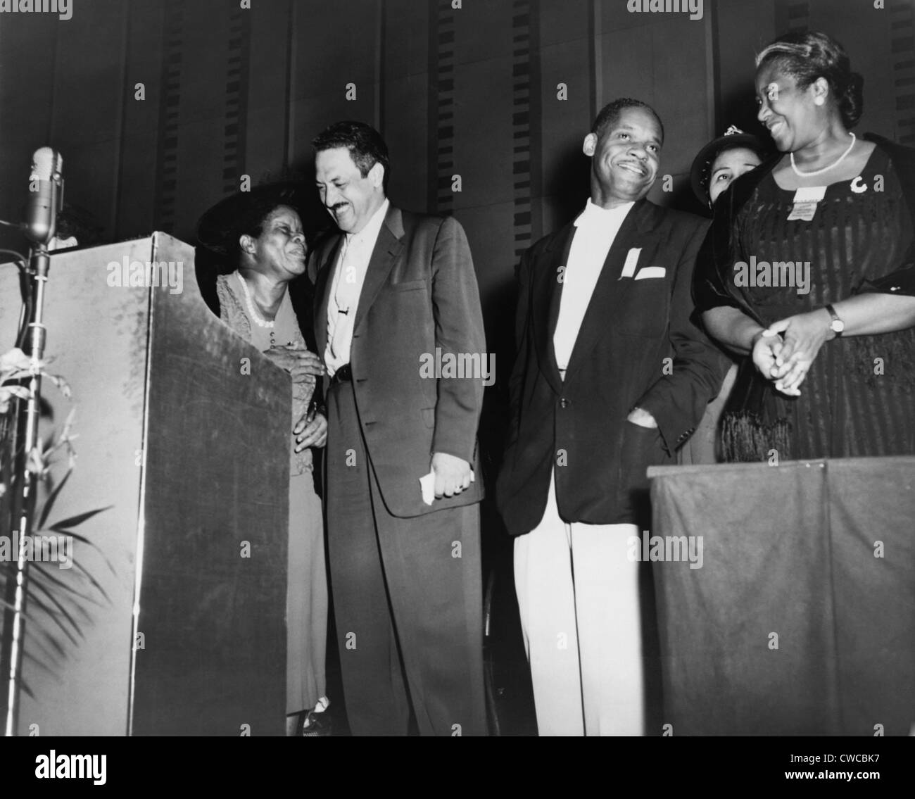 Thurgood Marshall standing with educator Nannie Helen Burroughs on left. Ca. 1950. - Stock Image