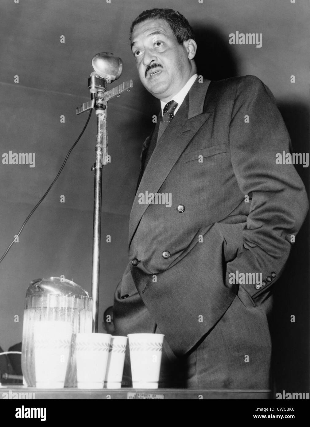Thurgood Marshall, then Chief Counsel for the NAACP, speaking at the reunion of the 369th Veterans' Association. - Stock Image