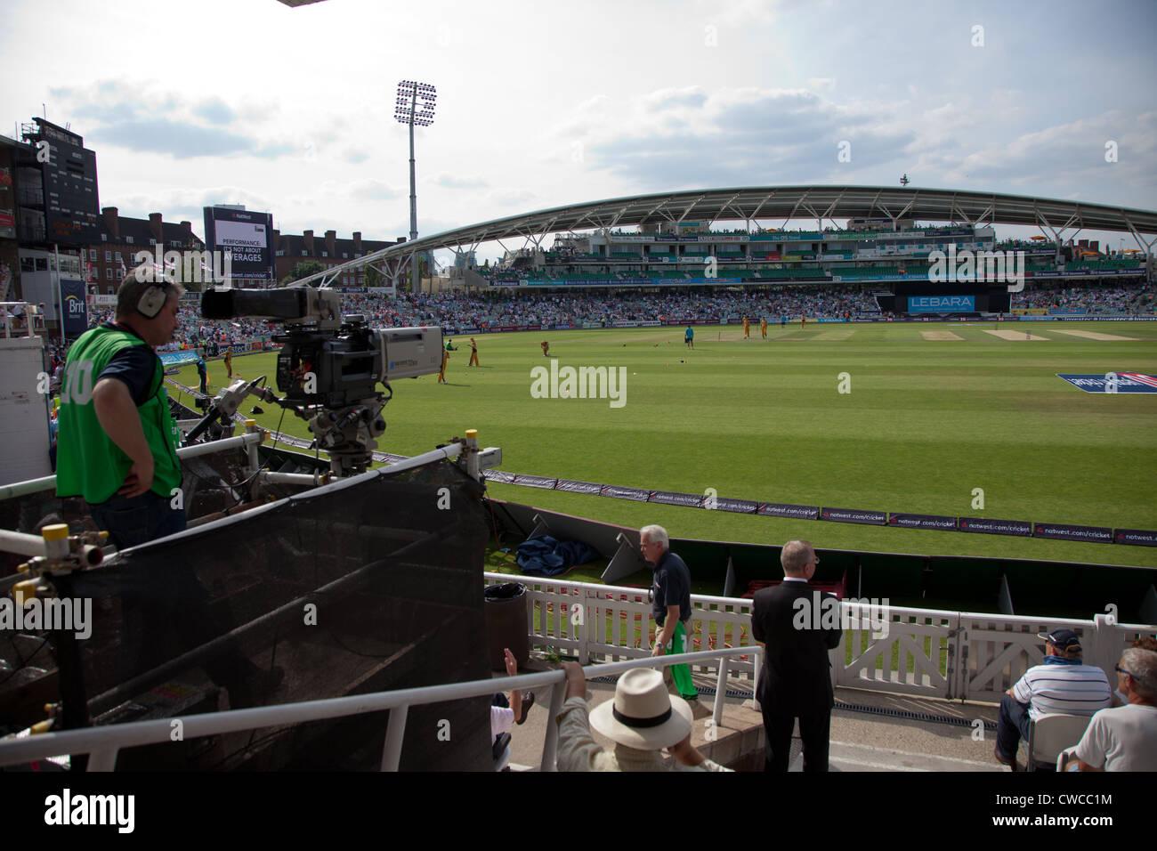 A cameraman films at the Oval England v Australia One Day International UK - Stock Image