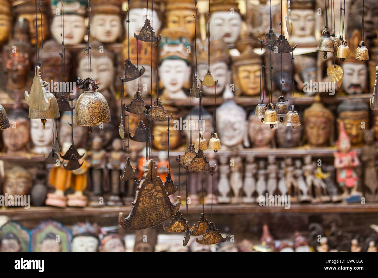 Wind chimes at a souvenir stand, Bagan, Myanmar - Stock Image