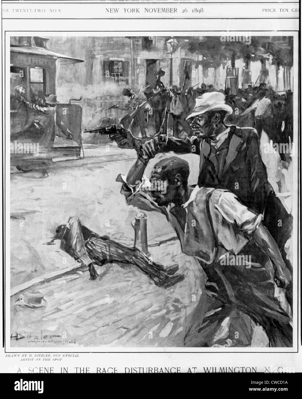'A Scene at the Race Disturbance in Wilmington, N.C.,' was published in COLLIERS WEEKLY, Nov. 26, 1898. - Stock Image