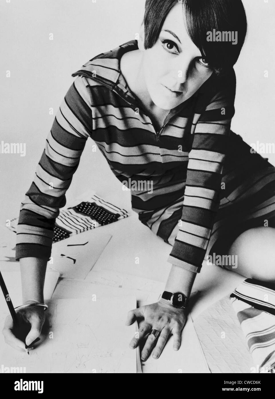 Mary Quant, British mod fashion designer. Her youthful clothing featured mini-skirts, tights, and bright colors - Stock Image