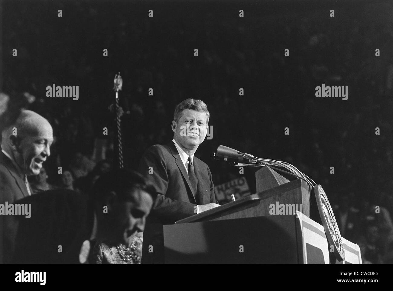 President Kennedy speaks at 'Bean Feed' on Oct. 6, 1962. Minnesota's 'Democratic-Farmer-Labor party'(DFL) - Stock Image