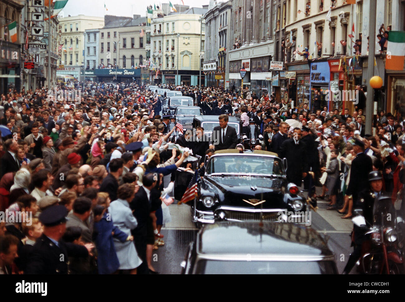 President Kennedy is cheered by the citizens of Dublin, Ireland, on Aug. 28, 1963. Kennedy, whose grandfather was - Stock Image
