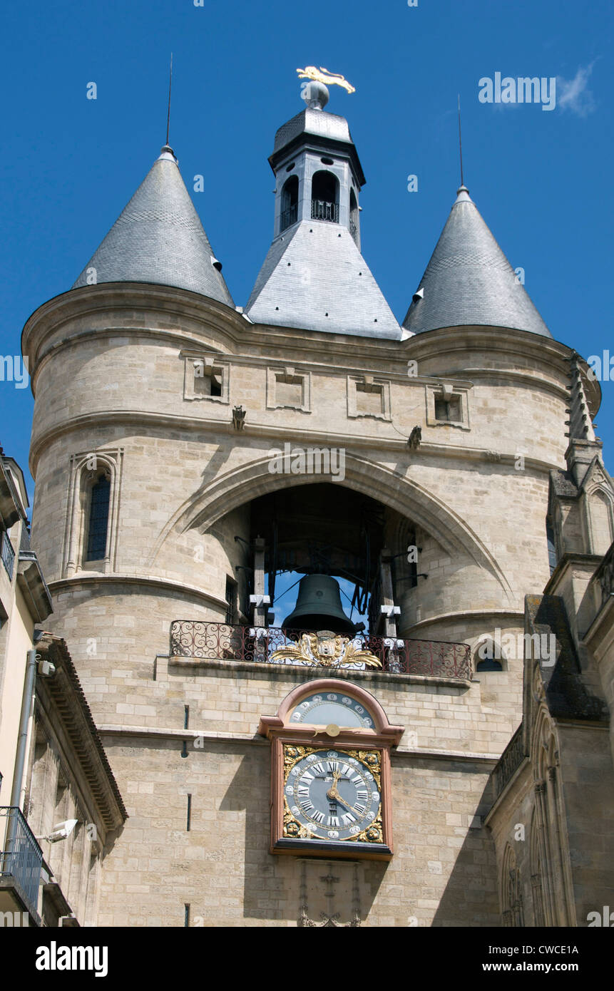 Bell tower, the Grosse Cloche, Bordeaux, Gironde, France, Europe Stock Photo