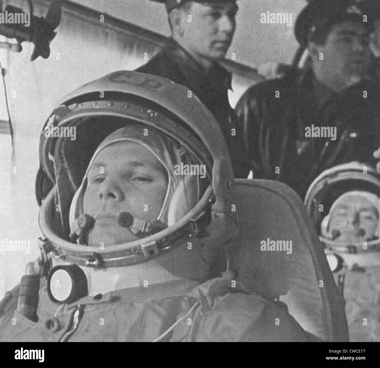Yuri Gagarin before his historic 108-minute orbital flight of April 12, 1961. He was the first human in space. Behind - Stock Image