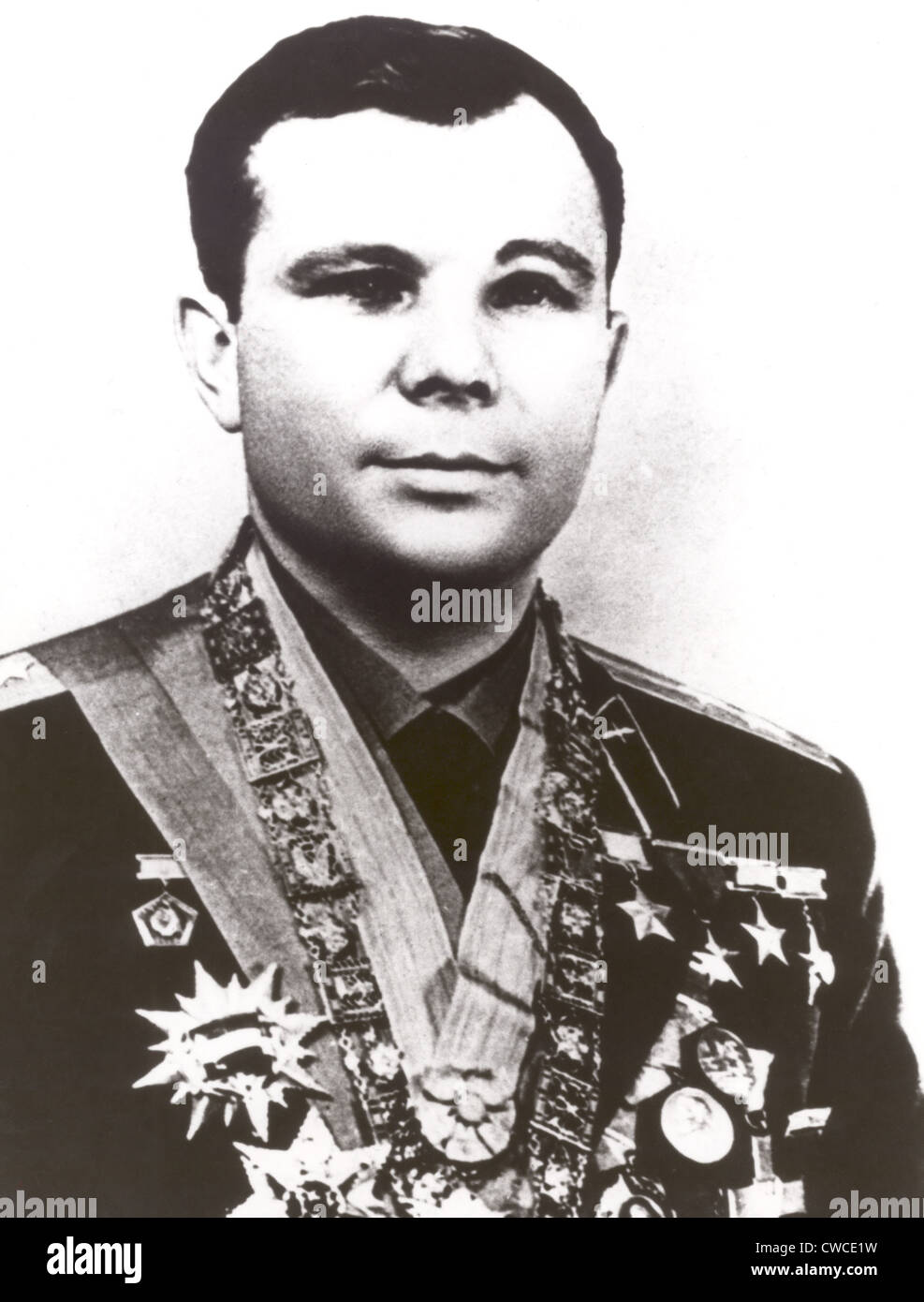 Russian Cosmonaut Yuri Gagarin was the first human in space. Ca. 1961. - Stock Image
