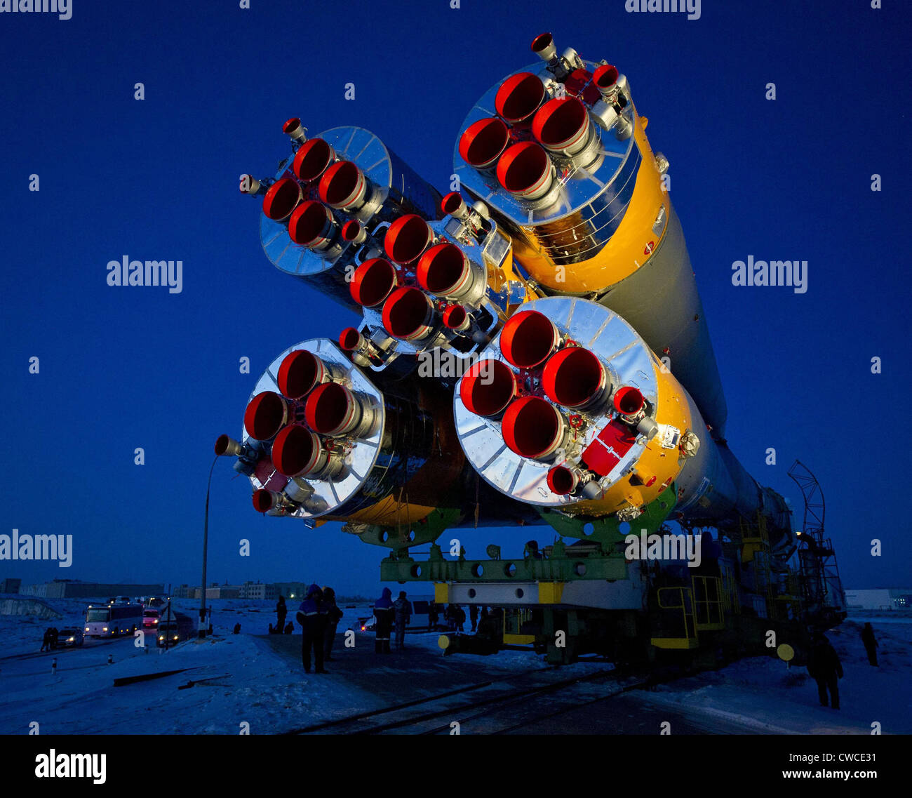 The Soyuz TMA-03M spacecraft to on its way to the launch pad at the Baikonur Cosmodrome, Kazakhstan. It carried - Stock Image