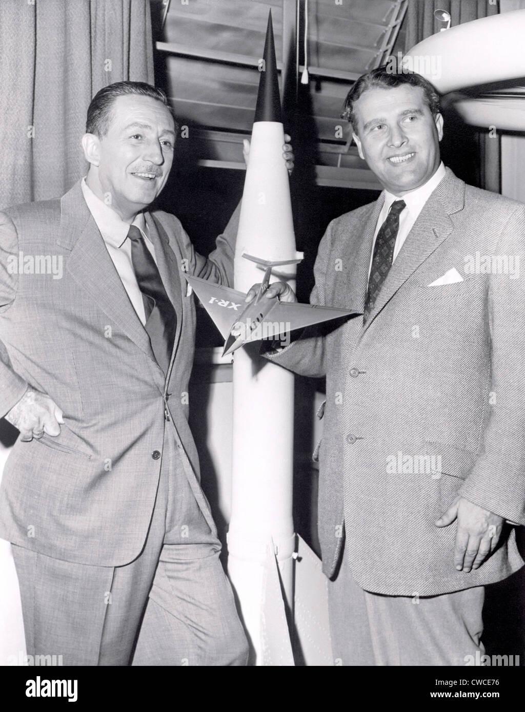 Dr. Werhner von Braun with Walt Disney. Von Braun worked with Disney Studios as a technical director, making three - Stock Image