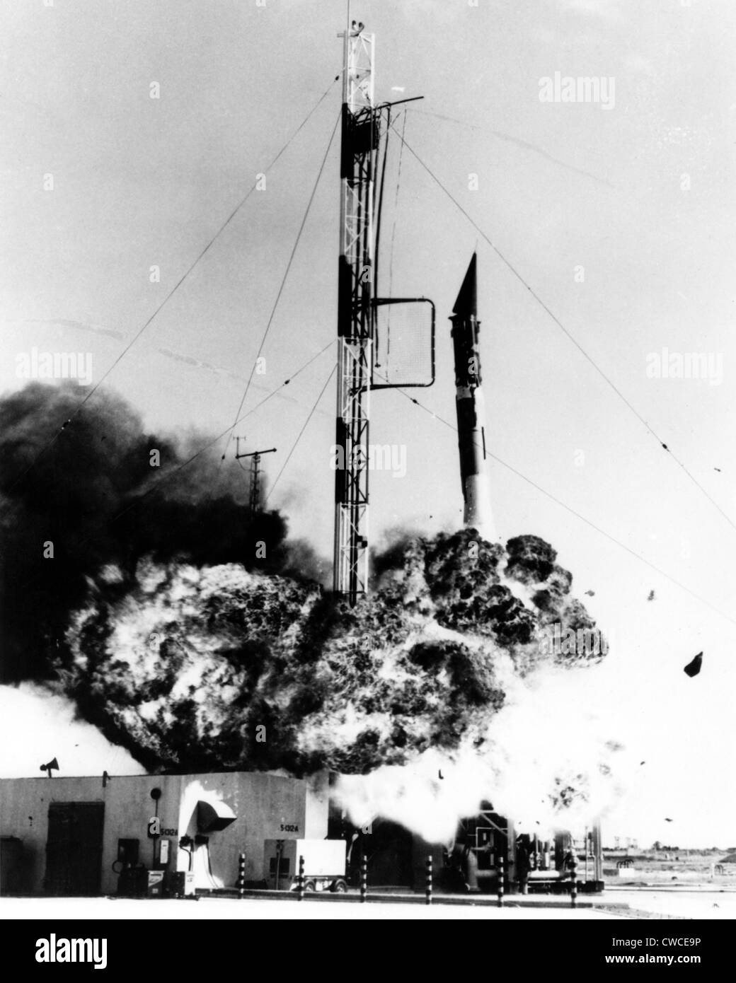 Vanguard missile exploding on its Cape Canaveral launch pad on December 6, 1957. The failure occurred after the - Stock Image
