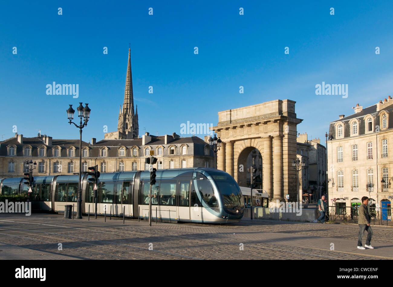 Public transport tram system in Bordeaux city centre, France, Europe - Stock Image