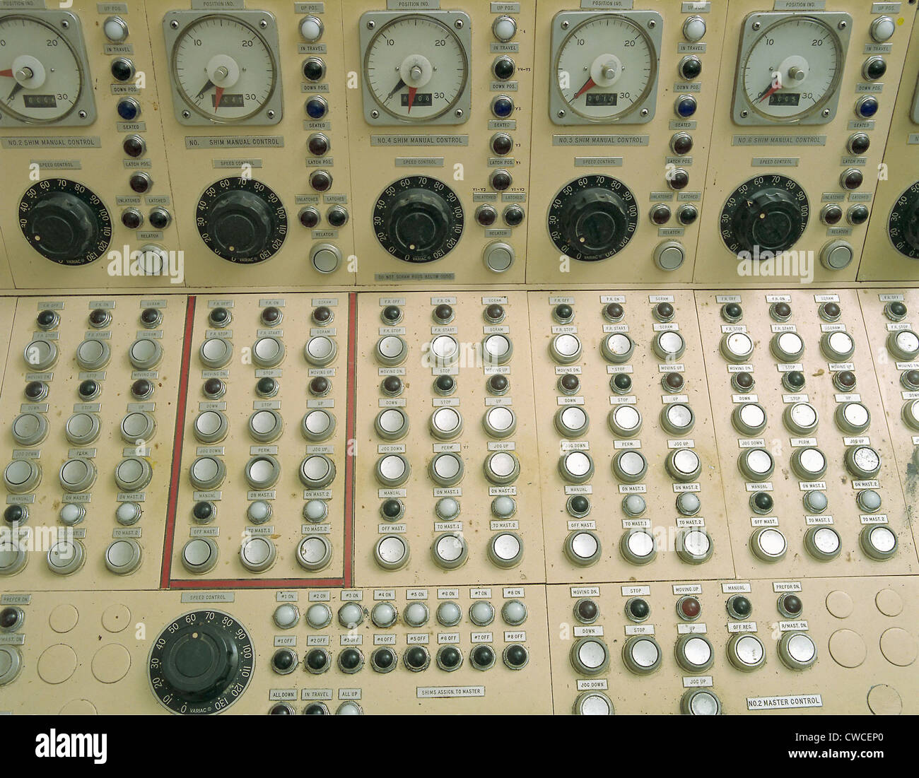 Nuclear reactor control panel for the manual operation of the control rods that regulate temperatures in the reactor - Stock Image