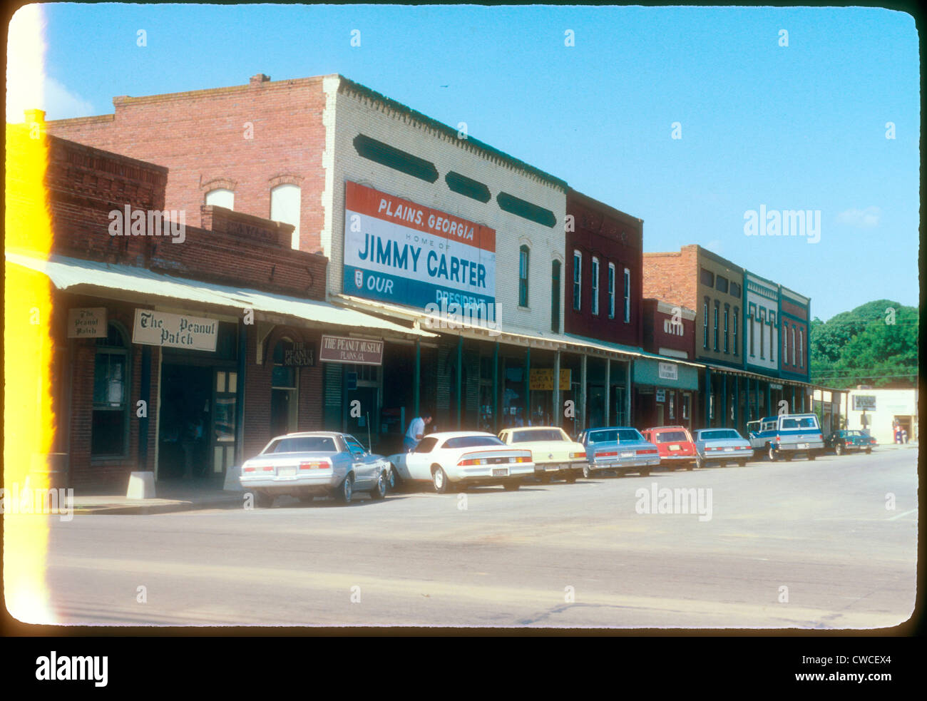 Downtown Plains Georgia Jimmy Carter home of our president 1979 sign city scape American president Election year - Stock Image
