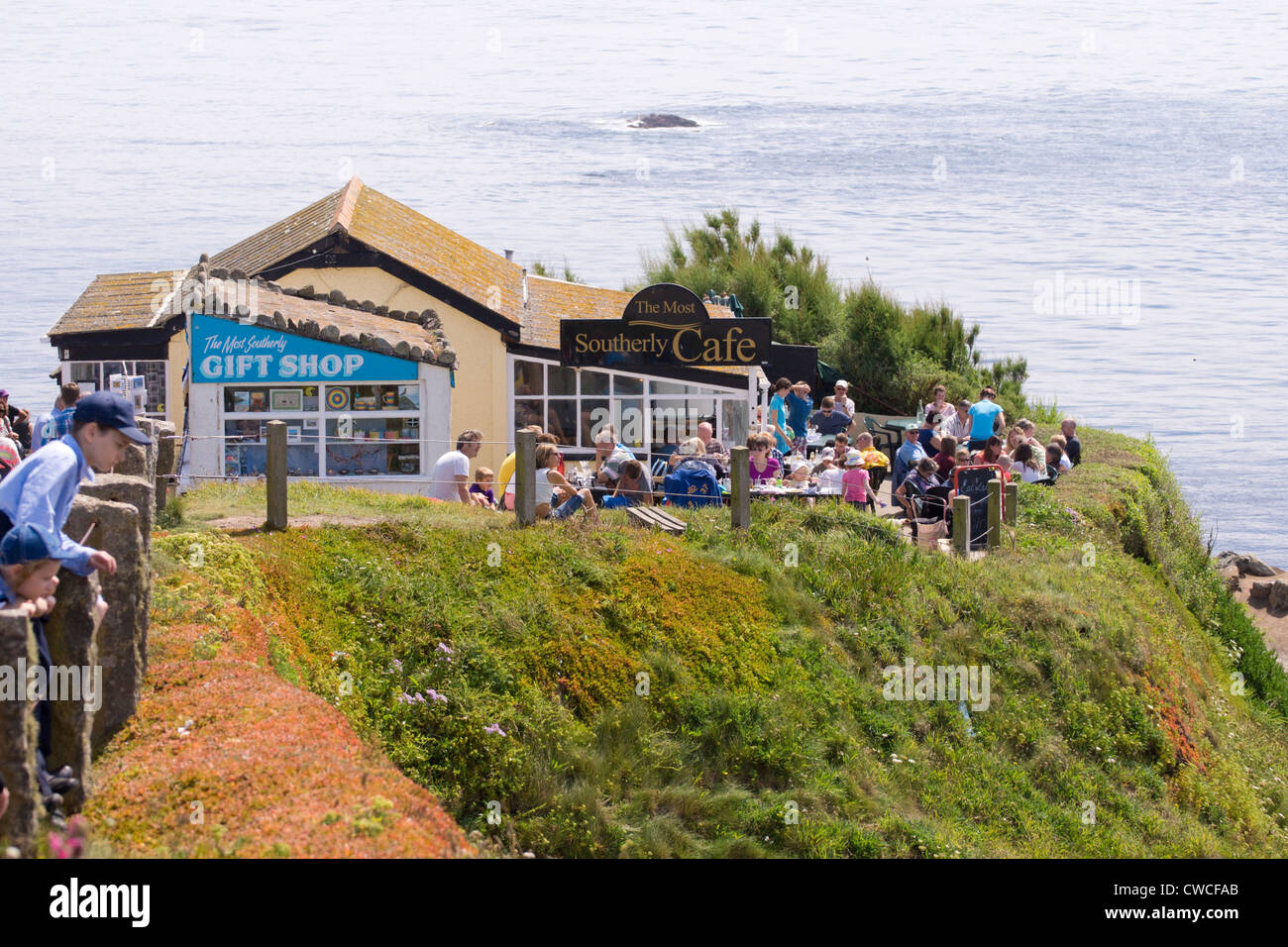 The most southerly cafe n the Cornish coast at Lizard Point - Stock Image