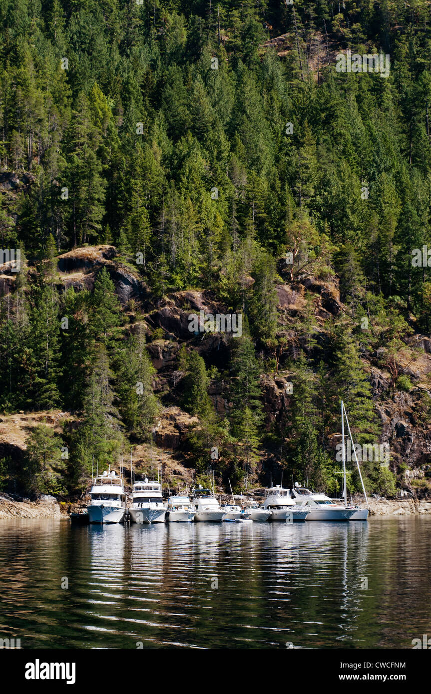 Majestic scenery and warm water attracts a group of boaters who have anchored and rafted together in Pendrell Sound. - Stock Image
