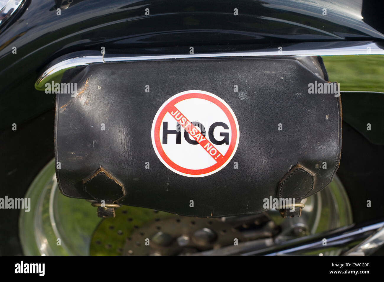 Saddle bag on a Harley Davidson Motorbike with a sticker saying Hog 'Just say no' - Stock Image