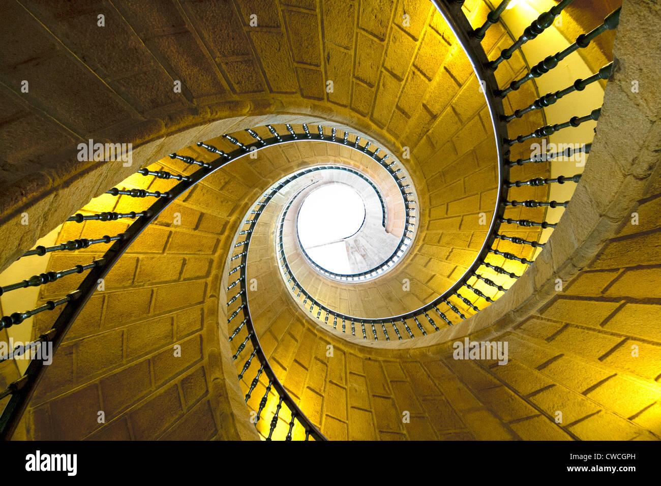 Spiral staircase at Convent de Santo Domingo de Bonaval in Santiago de Compostela - Stock Image
