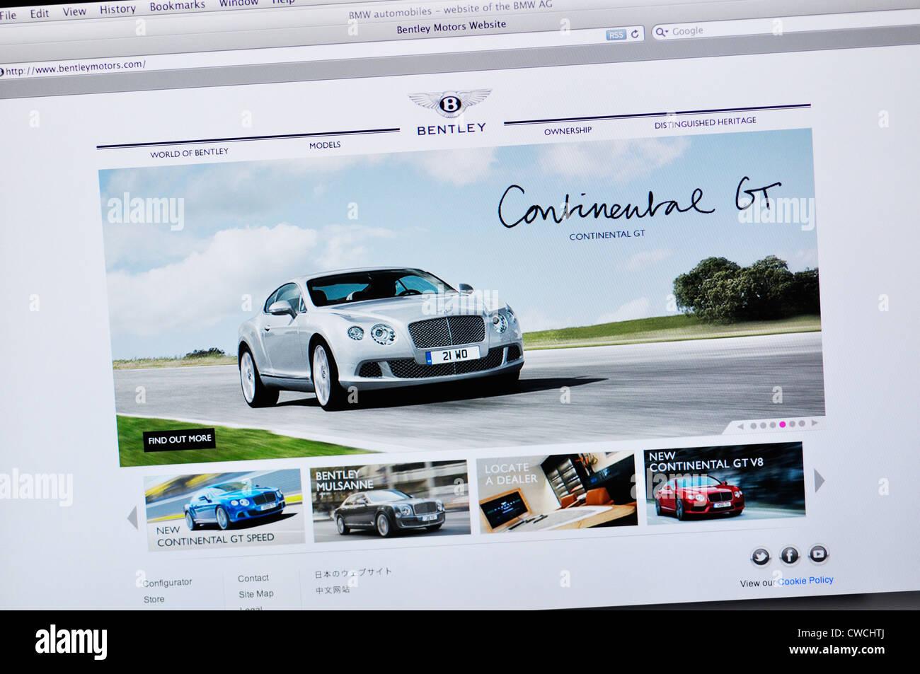 Bentley Motors website - luxury car manufacturer - Stock Image