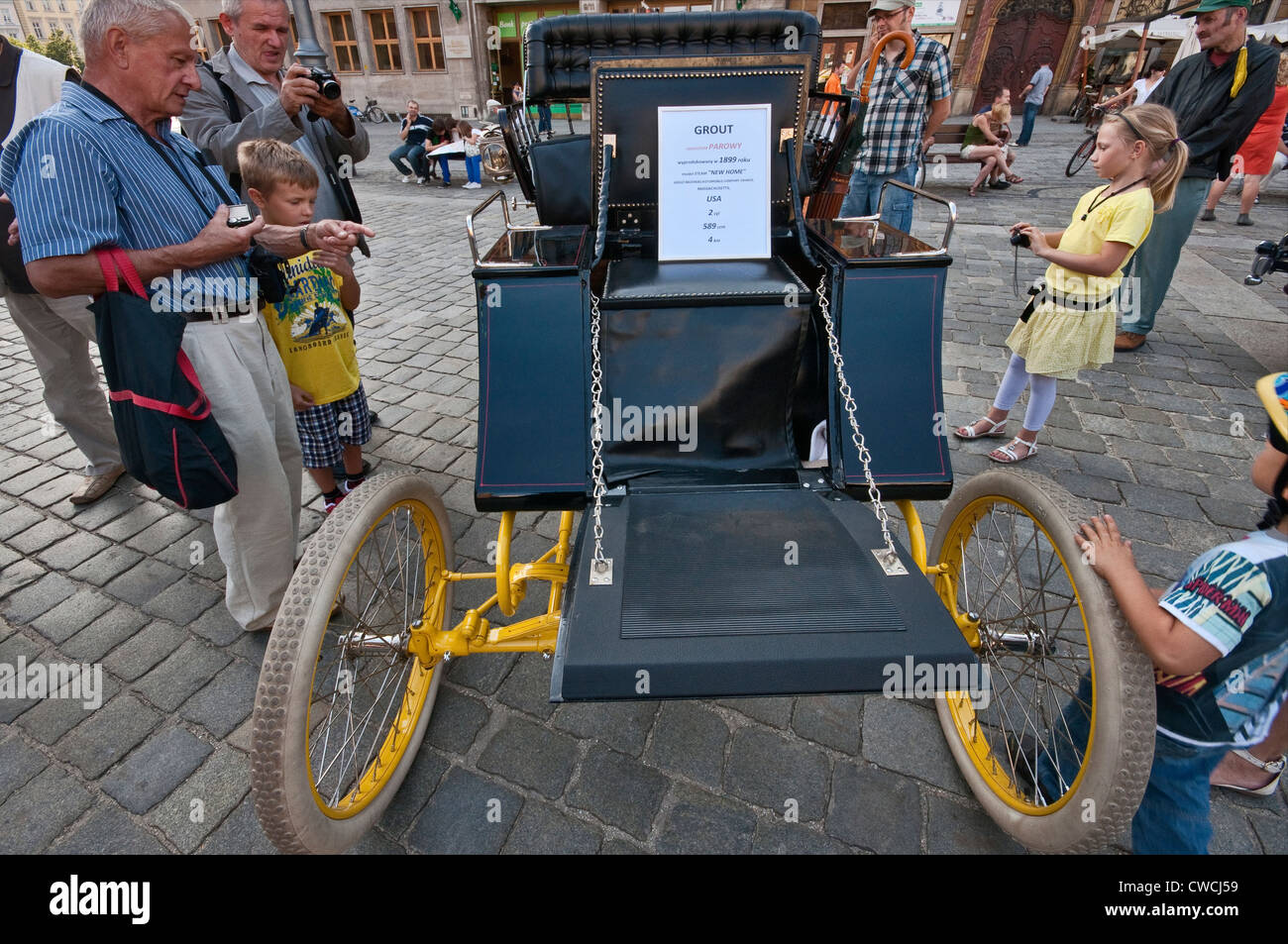 1899 Grout Steam New Home, steam powered automobile at Motoclassic car show at Rynek (Market Square) in Wroclaw, - Stock Image