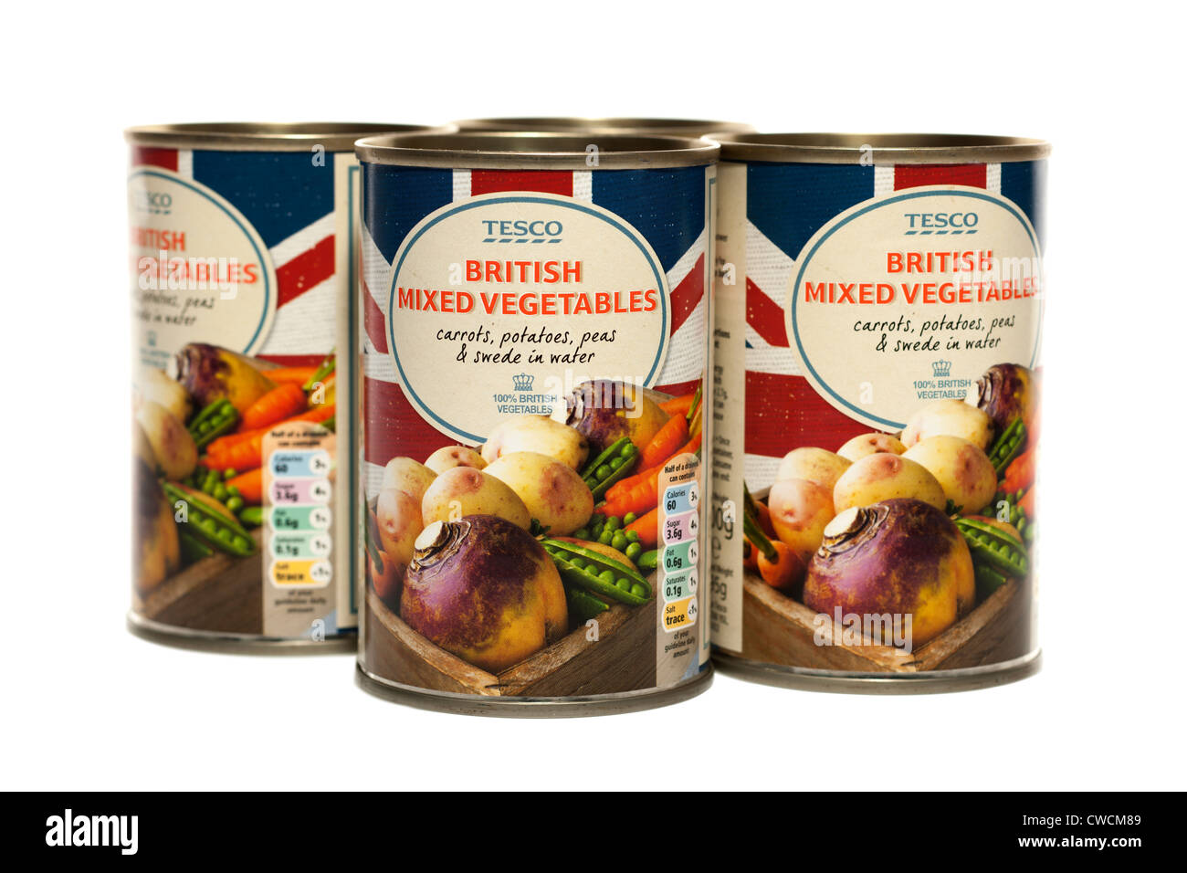 Tins of Tesco British mixed vegetables - Stock Image