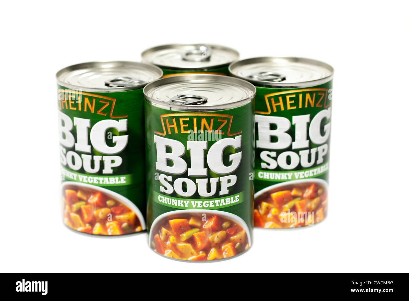 Four cans of Heinz Big Soup - Stock Image