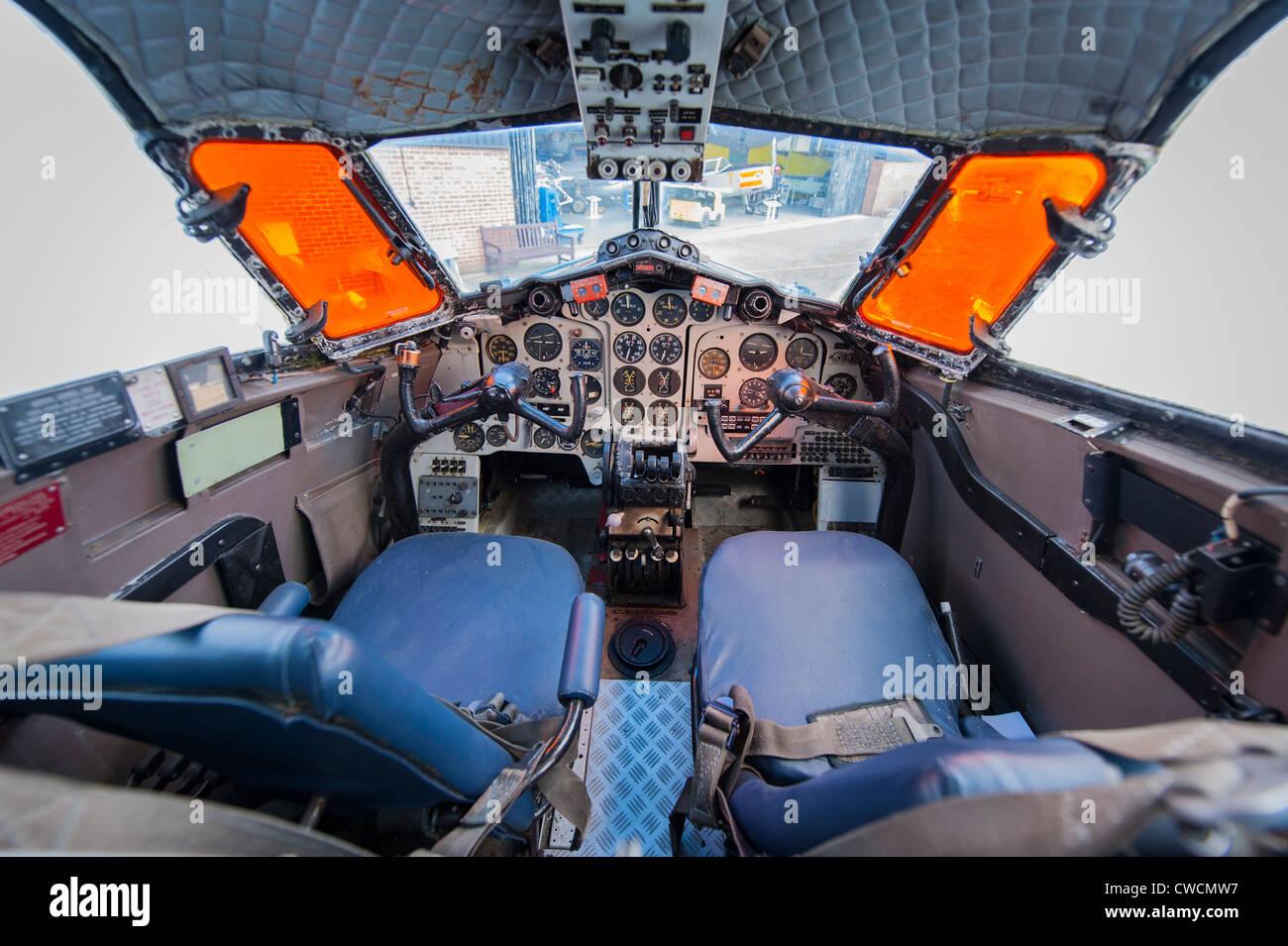 de Havilland Aircraft Heritage Centre Mosquito Museum DH114 Heron Mk.2D detail cockpit controls instruments first - Stock Image