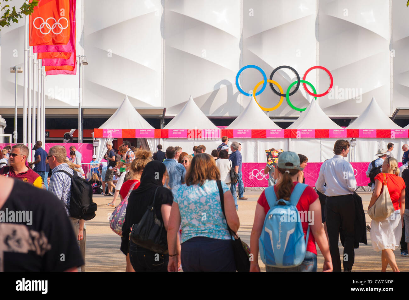 London 2012 Stratford Olympic Park Street Market area Basketball Arena people crowds fast food stalls kiosks tents - Stock Image