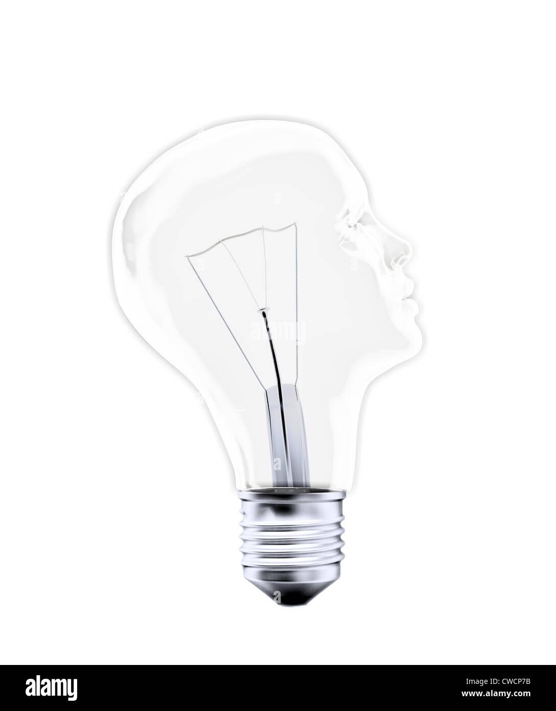 Head shaped bulb - creativity concept - Stock Image