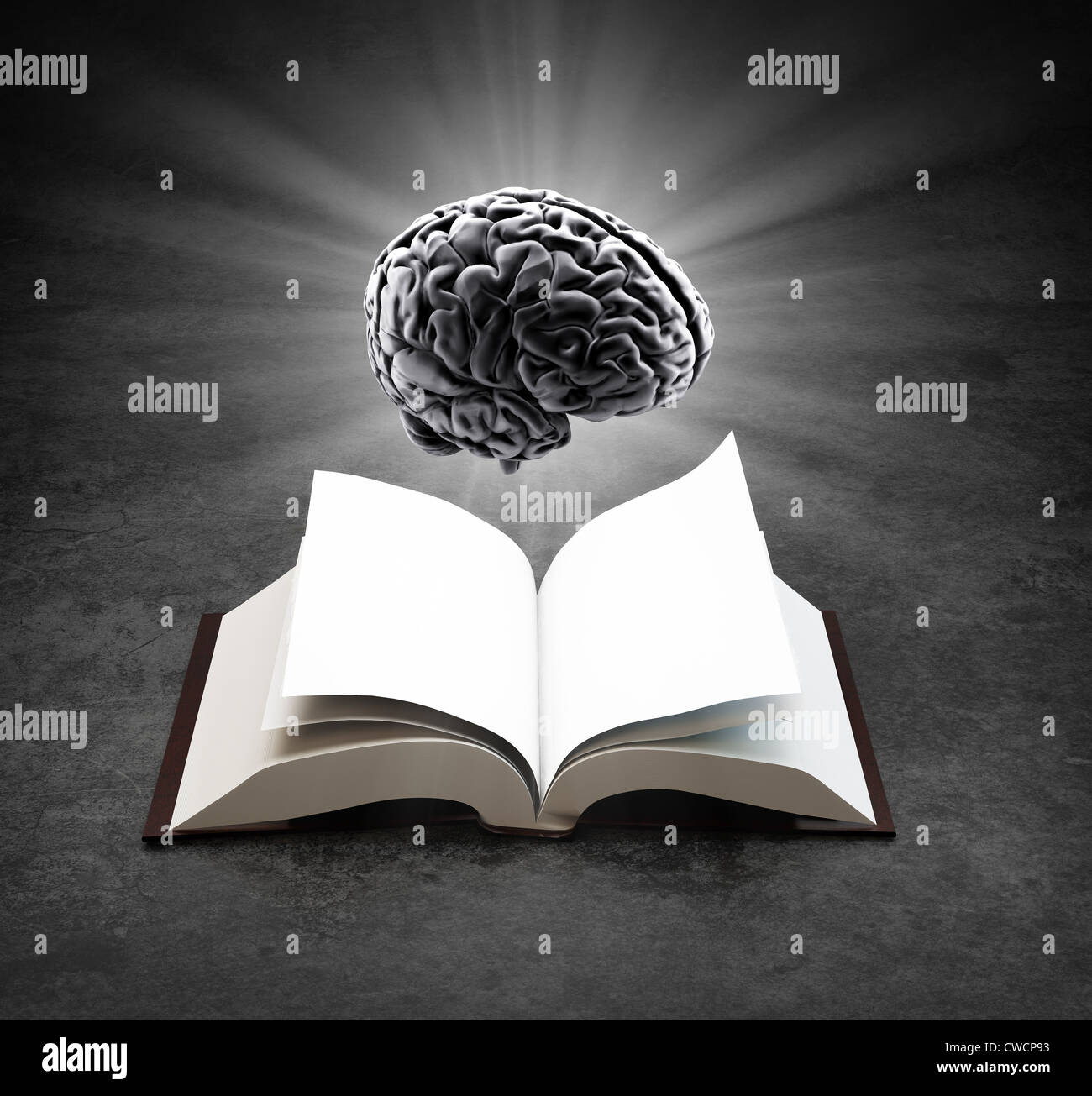 Open book with a glowing brain - knowledge and creativity concept - Stock Image