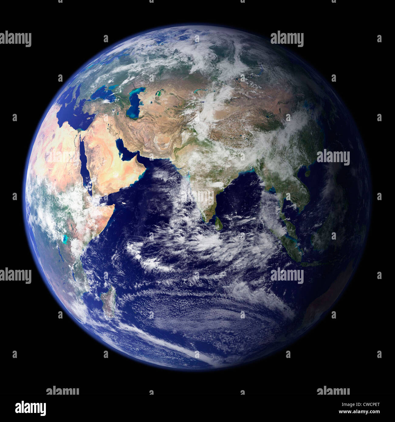 EARTH viewed from space focusing on Asia including the Middle East, Saudi Arabia and India. - Stock Image