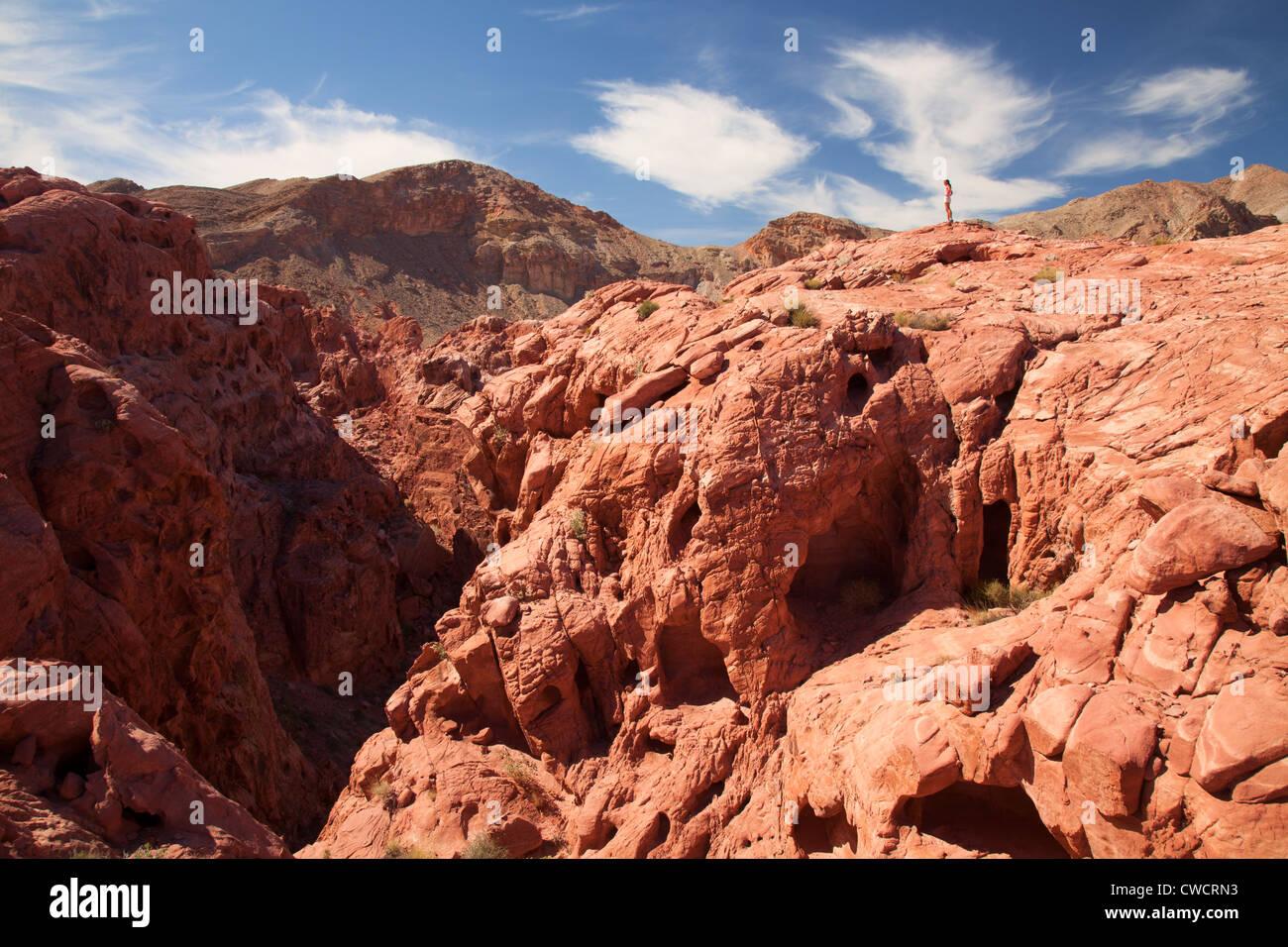 Hiking in Lake Mead National Recreation Area, near Las Vegas, Nevada. (Model Released) Stock Photo