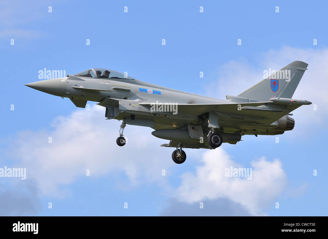 Eurofighter Typhoon FGR4 operated by the RAF on approach for landing at RAF Fairford - Stock Image