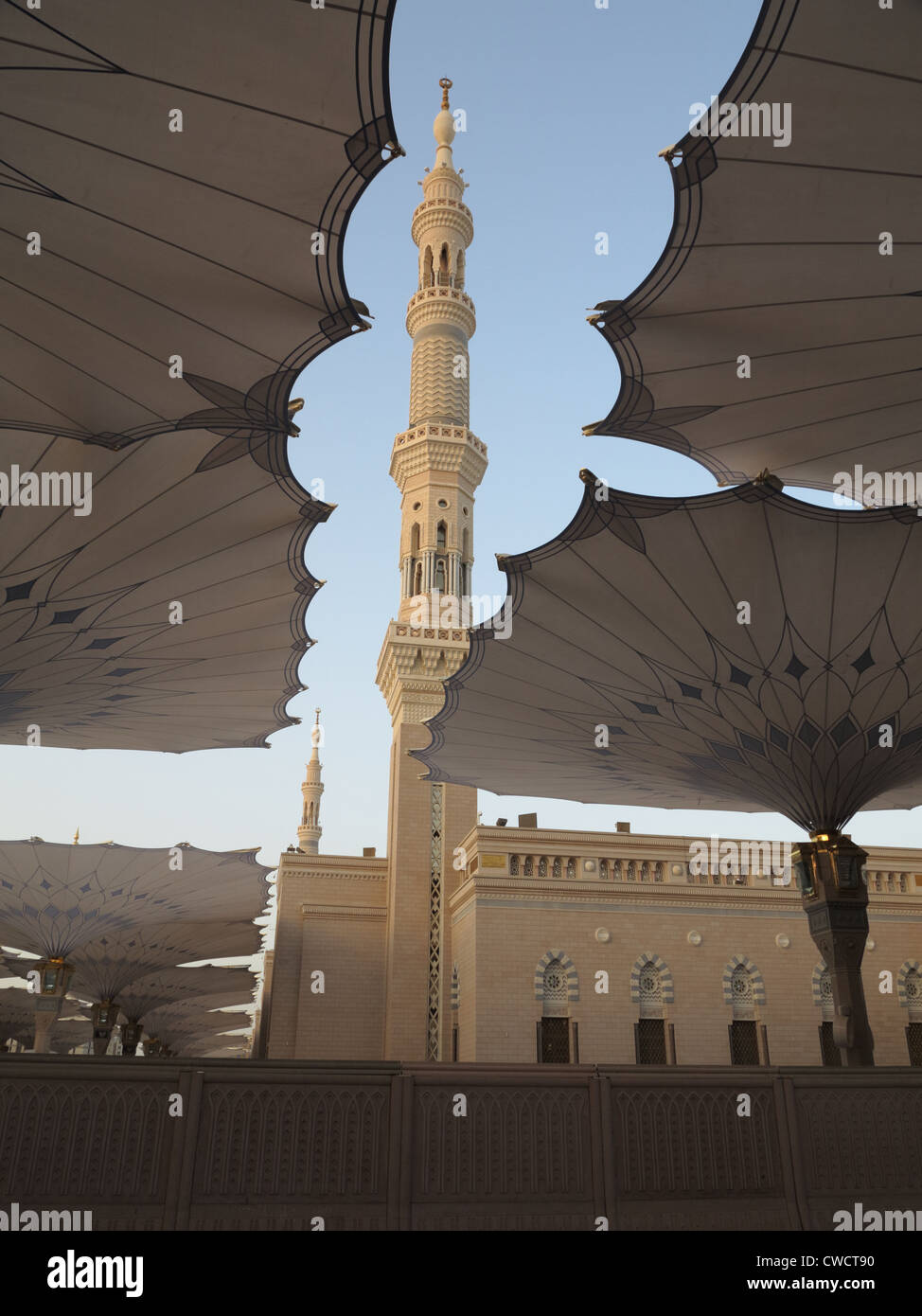 Minaret at An Nabawi Mosque (Mosque of the Prophet) in Al Madinah, Saudi Arabia - Stock Image
