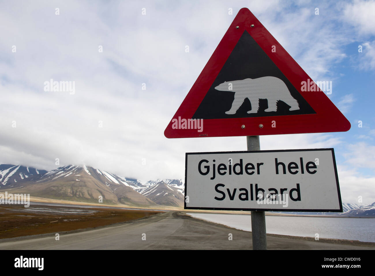 Watch out for polar bears roadsign, Longyearbyen, Spitsbergen, Svalbard, Arctic - Stock Image