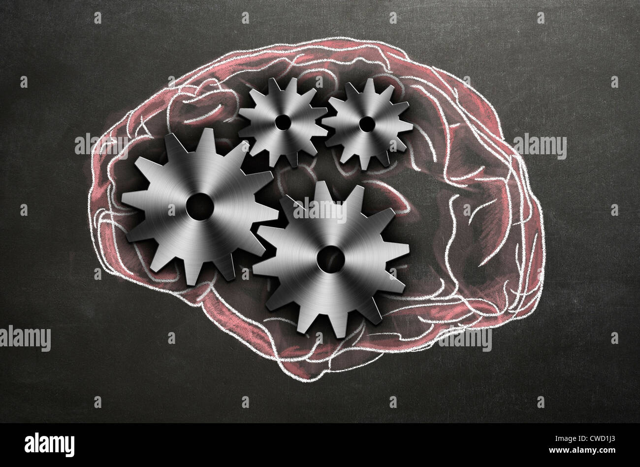 Chalk illustration of the human brain with cogs and gears representing the inner workings. Concept image - Stock Image