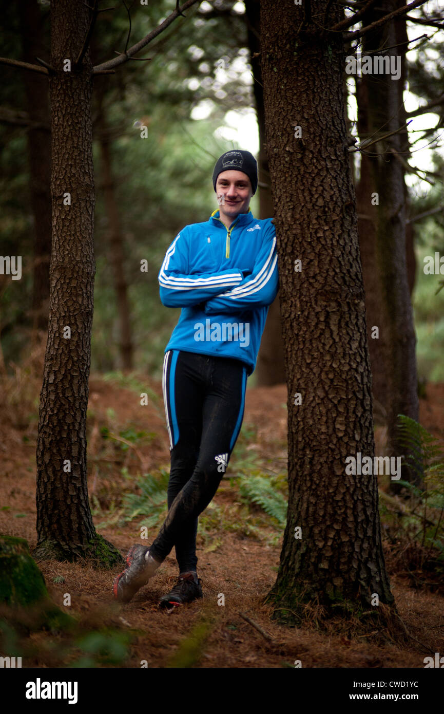 World Triathalon champion and Olympic gold medalist Alistair Brownlee in Otley Chevin, North Yorkshire, England. - Stock Image